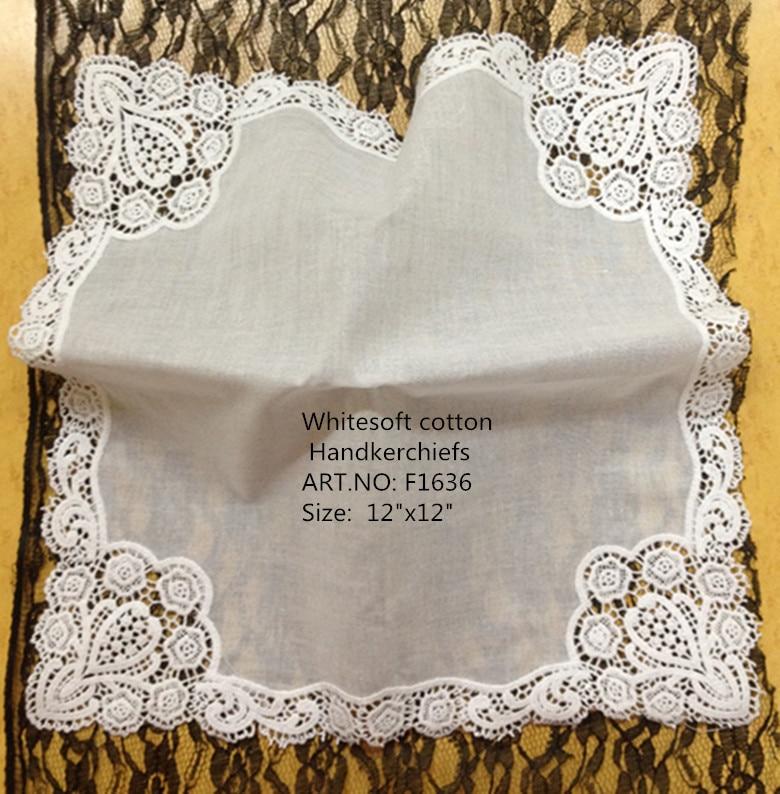 Set of 12 Fashion Women Handkerchiefs 12-inch Cotton Wedding Handkerchief crochet lace Edging Hankie Vintage Ladies Bridal Hanky