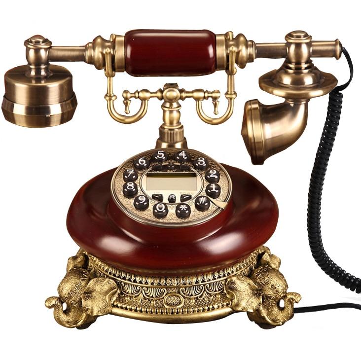 Elefante ev telefonu Europa hecho de madera antigua línea de teléfono Vintage teléfono hogar Oficina equipado Teléfono fijo