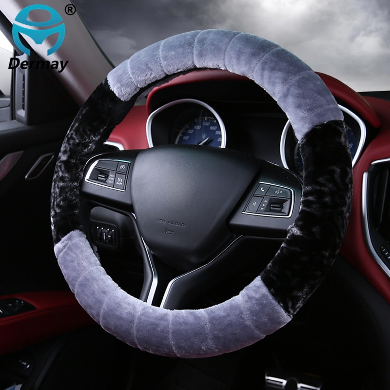 Чехлы рулевого колеса автомобиля DERMAY 37-38 см, зимние теплые мягкие плюшевые универсальные аксессуары для интерьера автомобиля