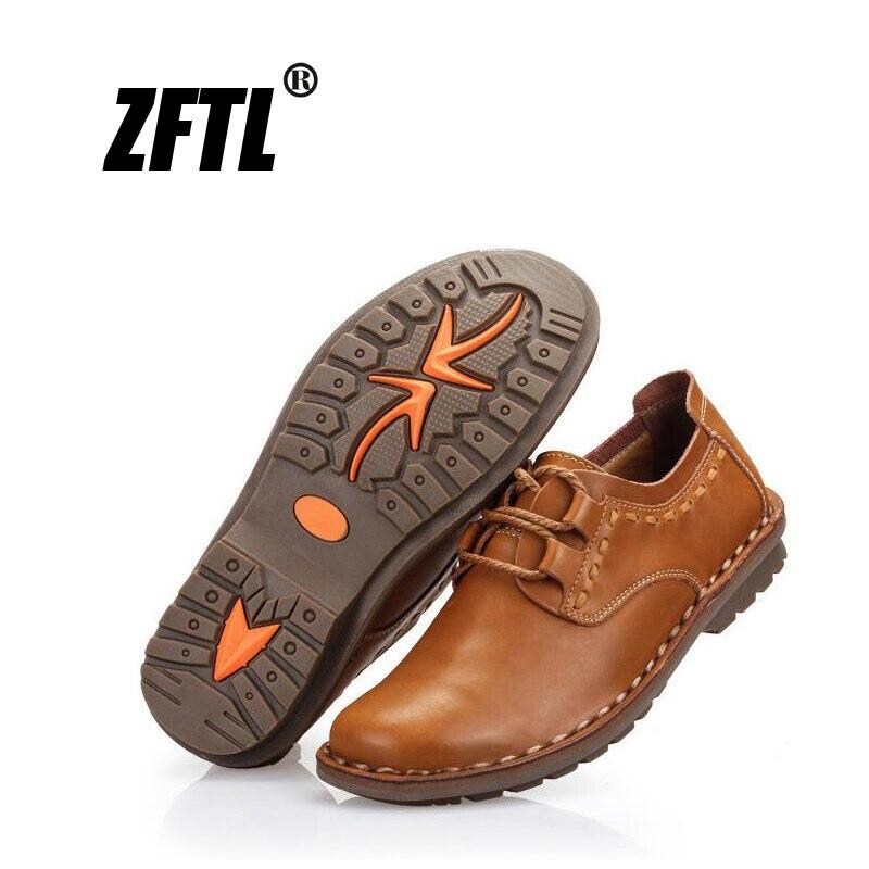 Zftl sapatos masculinos de couro legítimo, novos sapatos casuais, de couro genuíno, lace up, antiderrapante, para homens e negócios sapatos primavera/outono 074