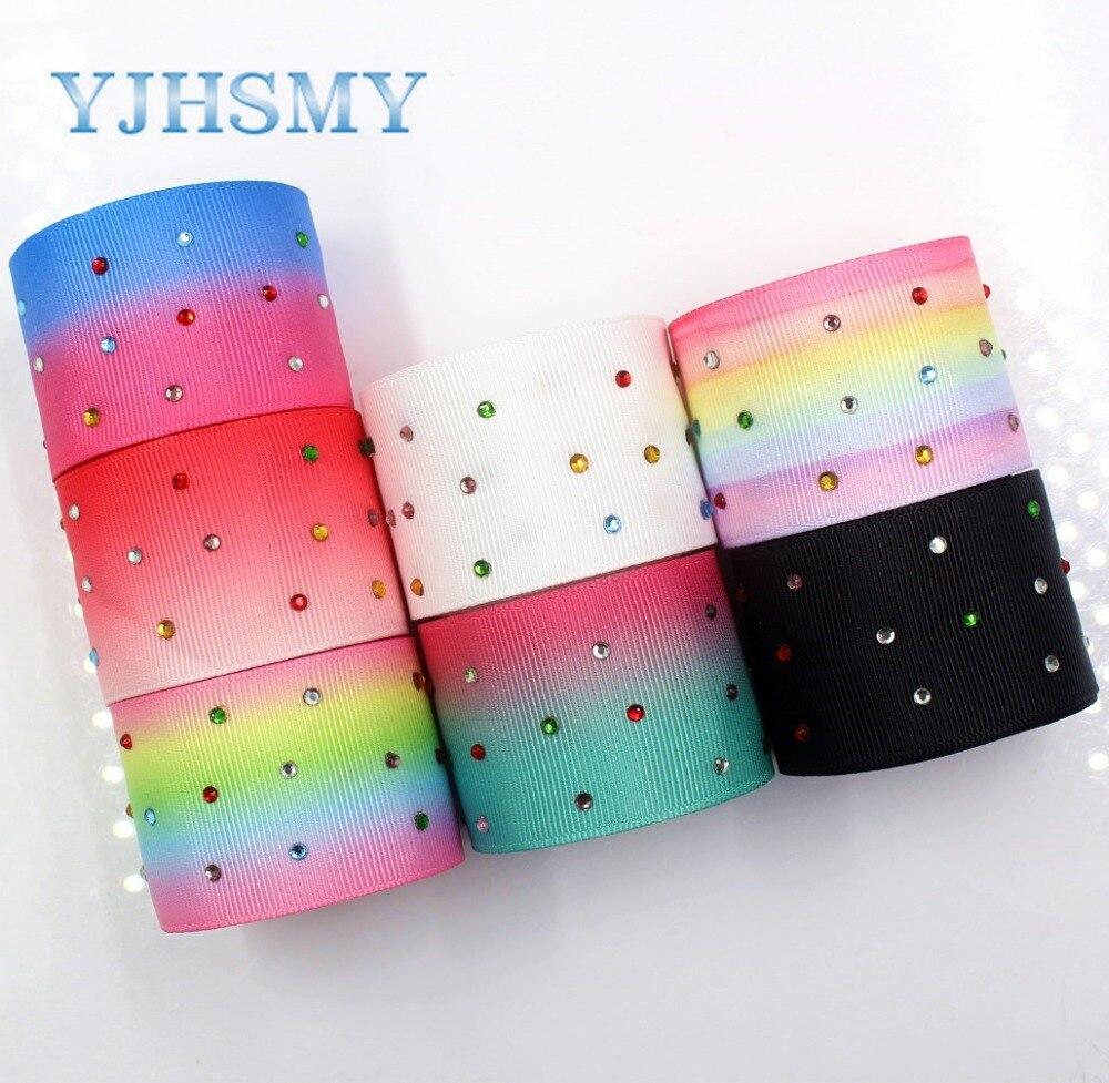YJHSMY I-181106-177, 5 yardas/lote, cintas de diamante multicolor gradiente de 38mm, grogrén de transferencia térmica impresa, material de envoltura de manualidades