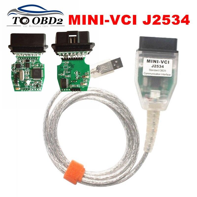 Neu Freigegeben V 15.00.028 MINI-VCI j2534 OBDII USB Diagnose Interface MINI VCI Beste FTDI FT232RL Chip Grün PCB Für Toyota