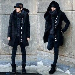 Markyi 2020 nova chegada inverno trench coat masculino duplo botão barato dos homens trench coat com capuz longo trench coat tamanho m-3xl