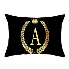 Funda de almohada de moda, funda de almohada negra Rectangular con letras A to I, funda de almohada decorativa de terciopelo de melocotón suave para el hogar