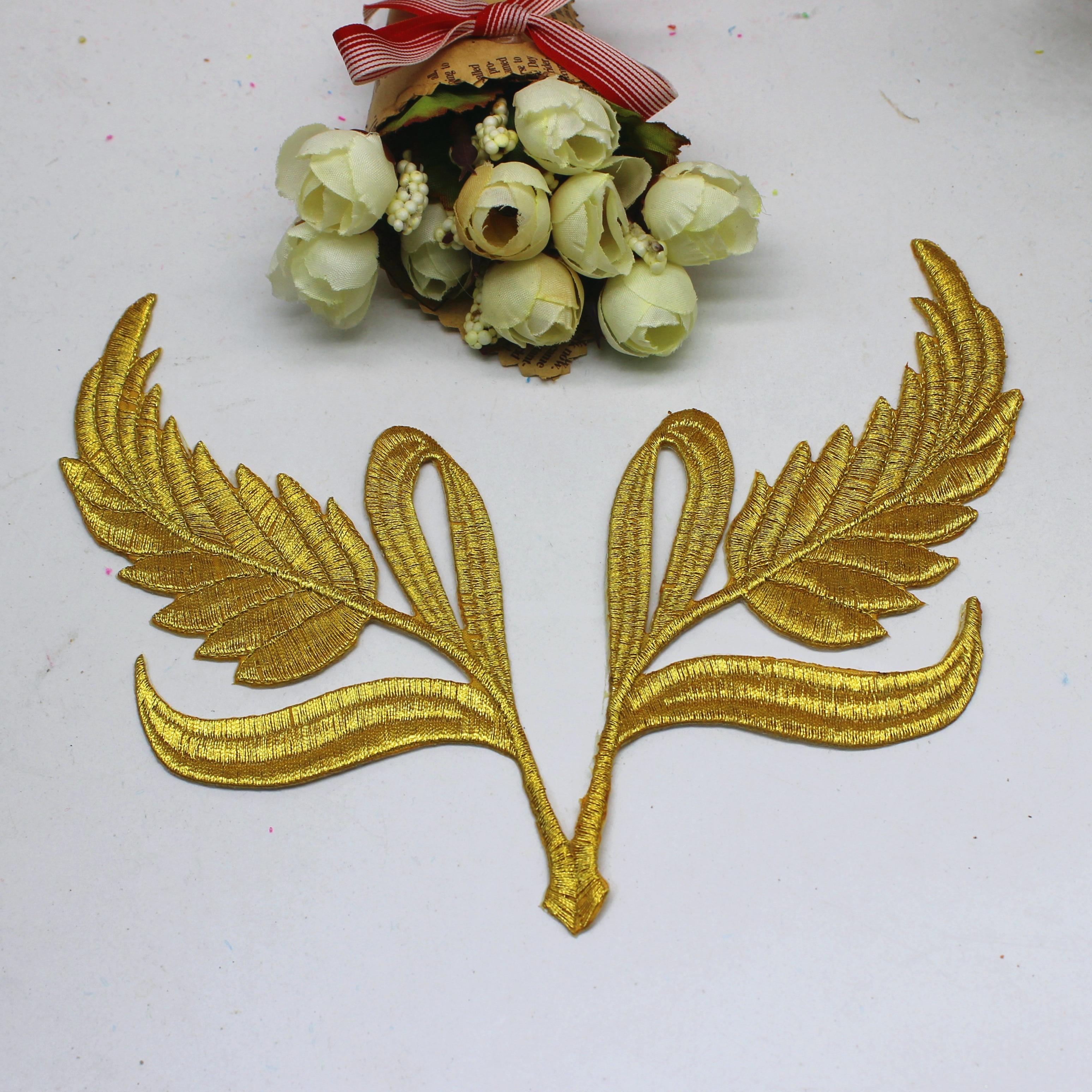 YACKALASI 5 pares/lote Appliqued Lace Patches Asas de Águia de Ouro Espelho Flor Bordados Guarnições de Ferro Na Flor 20*15 centímetros