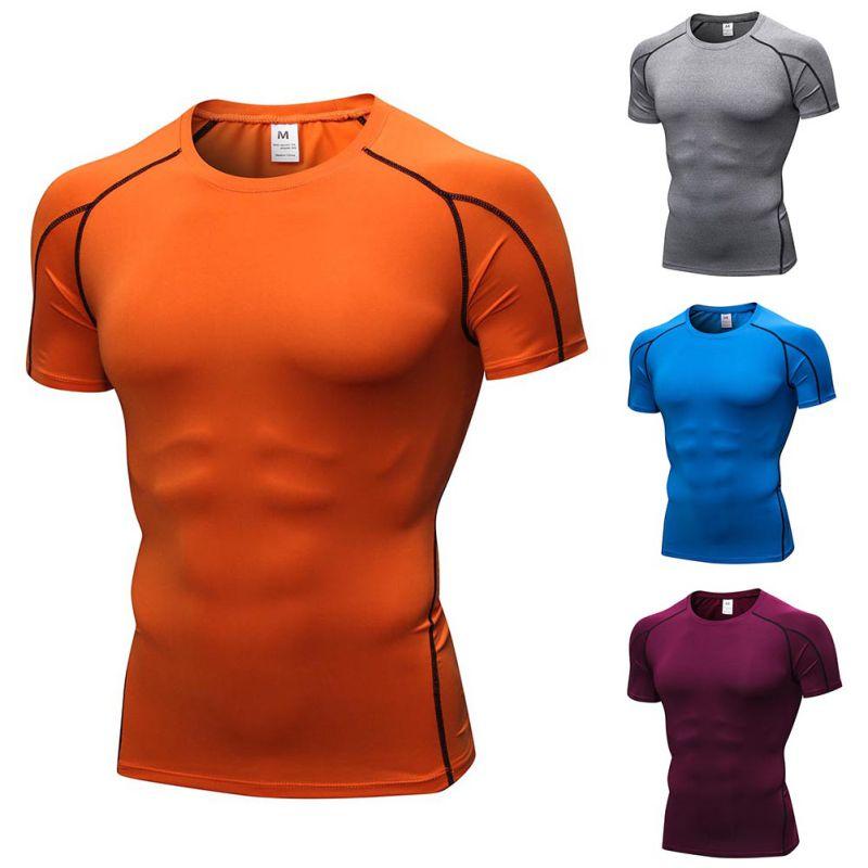 Deportes de Verano para hombre transpirable Skinny manga corta Fitness deportes correr entrenamiento Stretch camiseta de secado rápido