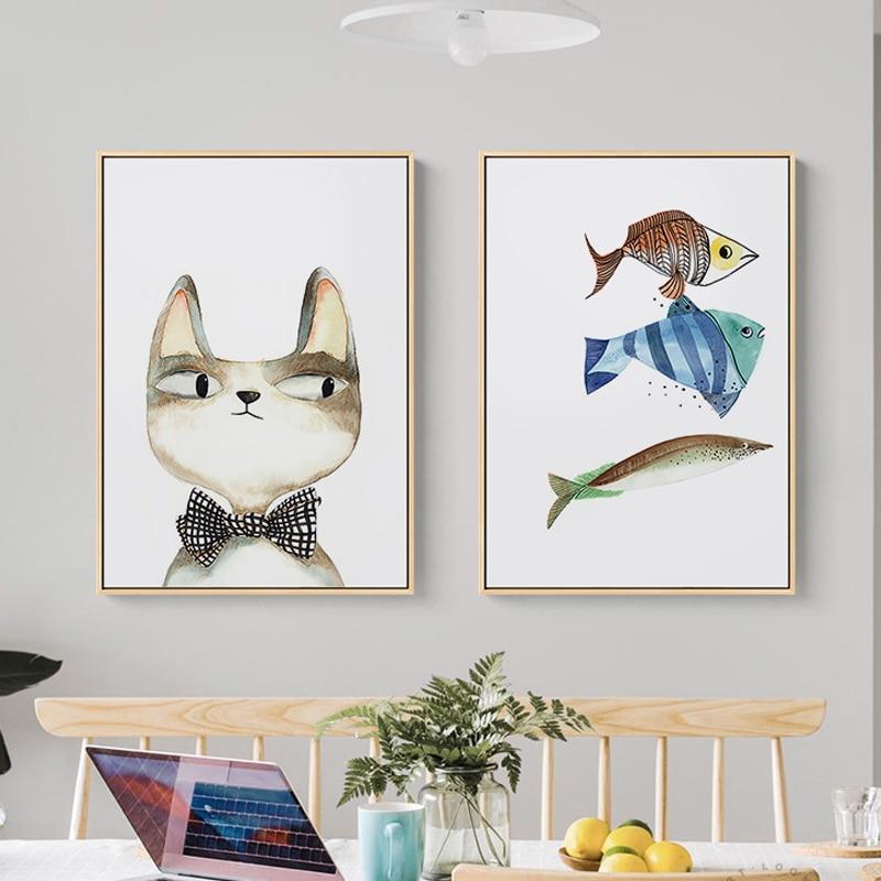 Decoración Para dormitorio infantil impresiones graciosas dibujos animados Caballero gato pez lienzo carteles pared arte imagen para sala de estar chicas decoración moderna Lil Peep