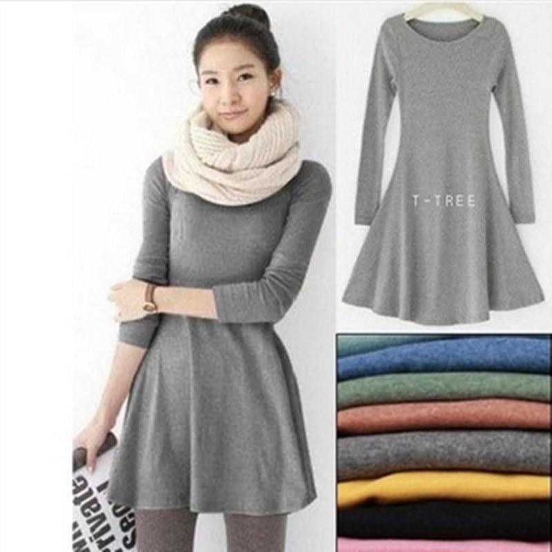 Fashion Clothes Vestidos Women Dress 2020 Spring Autumn Winter Dress Female 100% Cotton O-Neck Long Sleeve Dress Woolen Dresses