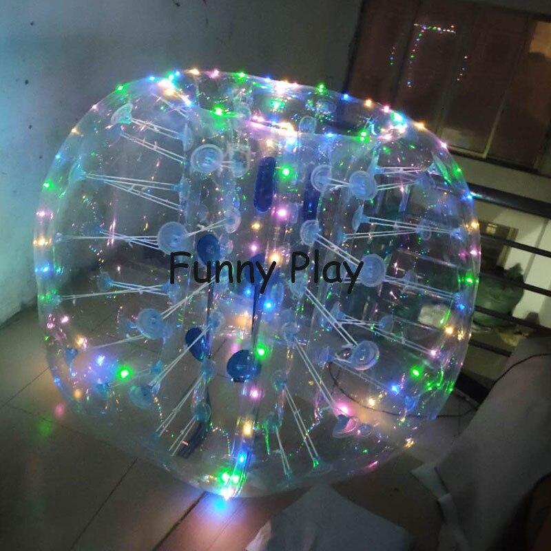 Bola de fútbol con luz led, Bola de parachoques de aire, pelota de fútbol con burbujas para adultos o niños, pelota de parachoques con burbujas para el juego de eventos