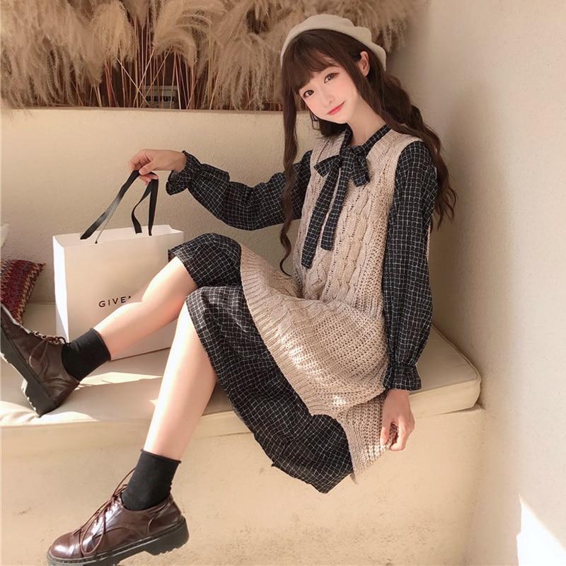 Primavera roupas de moda coreana feminina arco fresco cintura alta xadrez vestido + camisola colete conjunto de duas peças