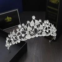 korean bride crown tiaras headdress rhinestone princess birthday crown for women wedding hair accessories