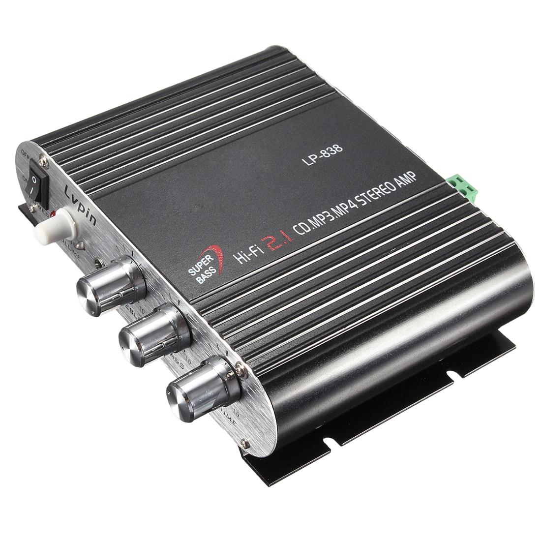 TTKK 12V 200W Mini canales de Radio de coche 2 casa Supergraves Hi-Fi amplificador estéreo reproductor de MP3
