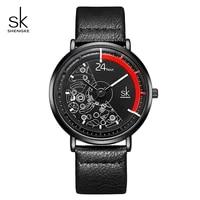 shengke creative leather fashion quartz watch men and women watches neutral wrist watch relogio feminino reloj mujerk9004