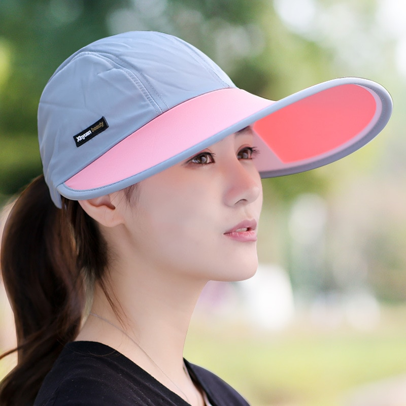 Sombrero de verano para los amantes de las mujeres, sombrero de protección solar plegable Uv, gorra flexible con visera solar, sombrero para playa al aire libre para mujer, novedad