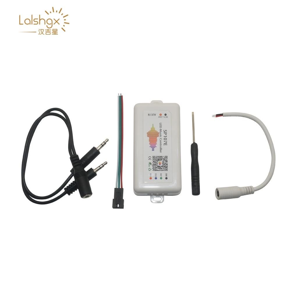 Sp107e DC5-24V bluetooth led controlador de música rgb spi led controlador por telefone app para ws2812 sk6812 apa102 lpd8806 luzes de tira