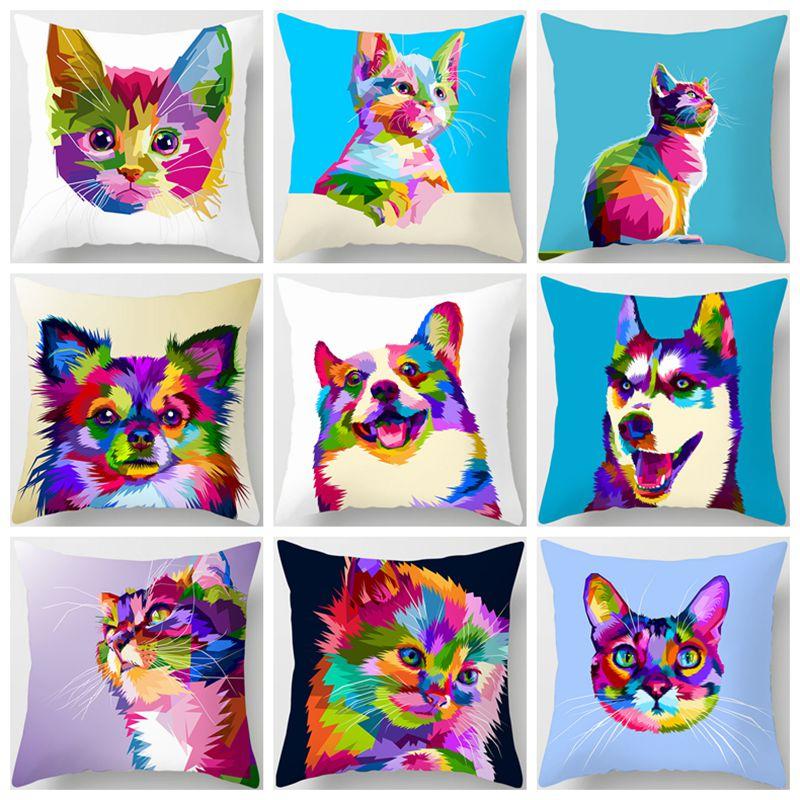 Housse de coussin pour animaux colorés   En Polyester, pour décoration de maison, joli, chat, chien, girafe, Lion zèbre