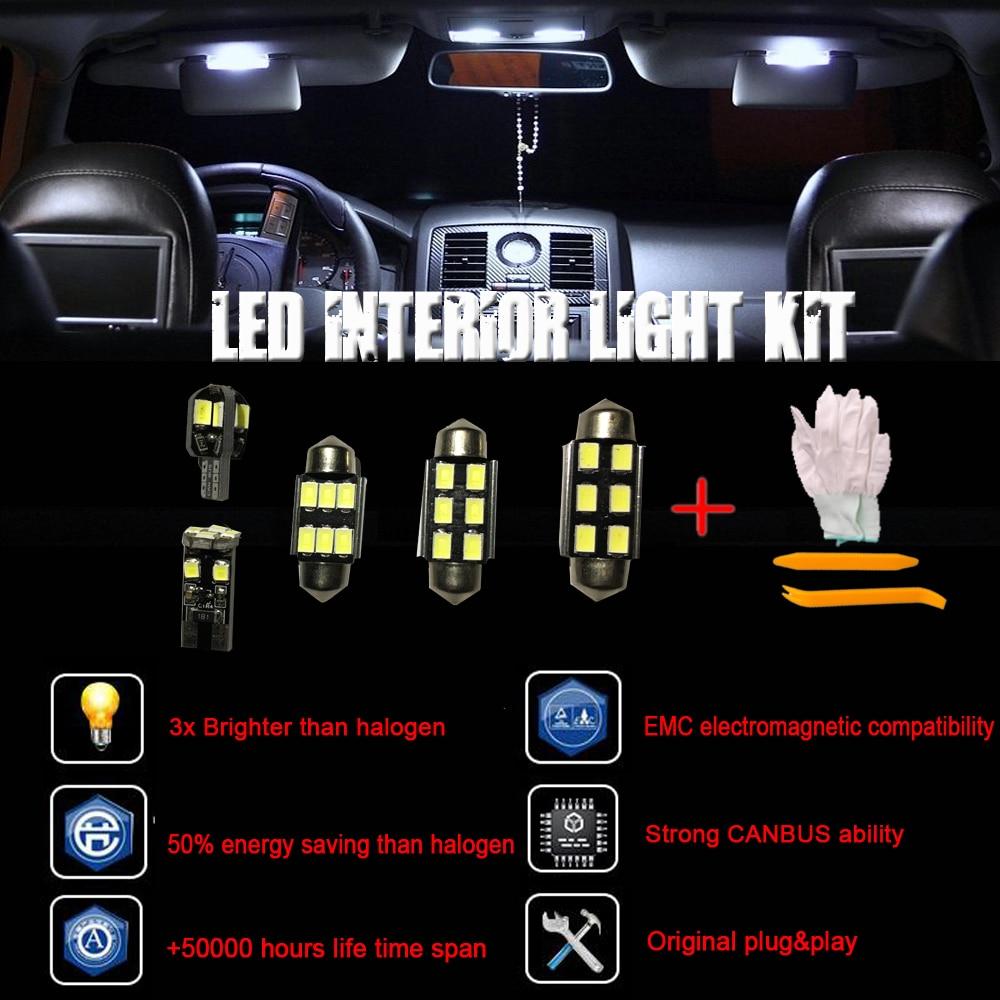 8pcs Canbus Error free LED Interior Signal Light Kit for Fiat 500 Easy Lounge Pop Sport Trekking Turbo (07-16)+Installation tool