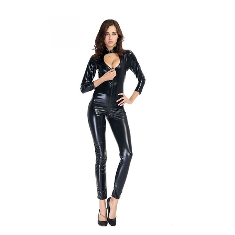 Neu Sexy Frauen Kragen PVC Bodysuit Overall Sex Produkt Catsuit Bodycon Clubwear DO99