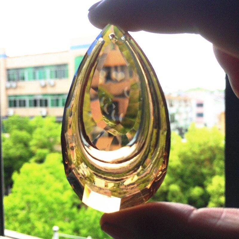 20 pçs/lote 63mm K9 Champanhe Lustre de Cristal Double-deck Cai Pingente Janela Cortina Suncatcher Cristal Prismas Ornamentos DIY