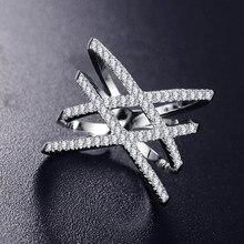 جديد خمر مزدوجة الصليب x شكل خواتم للنساء زركونيا مايكرو المعبدة مجوهرات لعيد الميلاد هدية