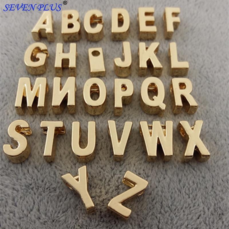 2018 de alta qualidade 26 peças/set (de a a z) 11mm * 6mm * 4mm cor ouro carta inicial alfabeto encantos para colares e pulseiras