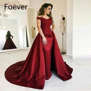 Robe De Soiree Muslim Prom Dress Islamic Dubai Kaftan Saudi Arabic Burgundy Long Evening Gown with Detachable Train 2019
