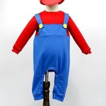 Baby Mario Costume Halloween Costume Romper+hat jumpsuit Costume toddllers Cosplay