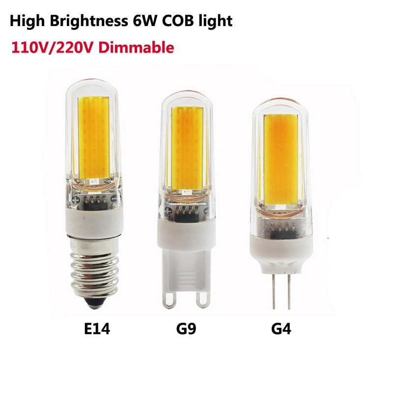 G9 G4 E14 LED 110V 220V 6W عكس الضوء LED مصباح 2609 SMD COB لمبة مصباح ضوء 360 شعاع زاوية الثريا أضواء استبدال الهالوجين 10 قطعة