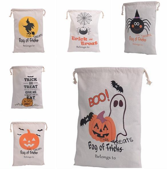 Lona de algodón bolsa de Halloween niños favor regalos bolsa de regalos de caramelo Partido de la calabaza araña tratar o truco bolsas porque Accesorios