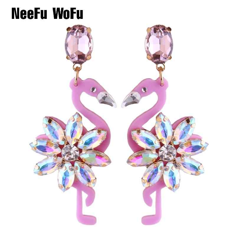 NeeFu WoFu 2020 Crystal Long Earrings Big Flamingo Large Earrings For Women Resin Brincos Brand earrings Ear Fine Jewelry Gift