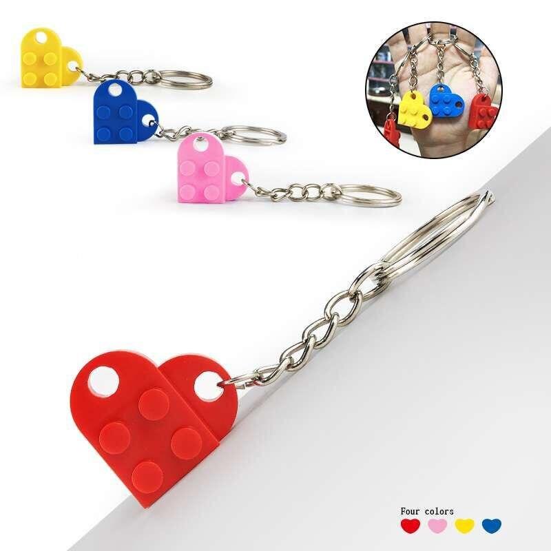Bloques de construcción de juguete con llavero de 2*2 2*4 en forma de corazón Multicolor compatibles con marcas juguete para regalo educativo para niños