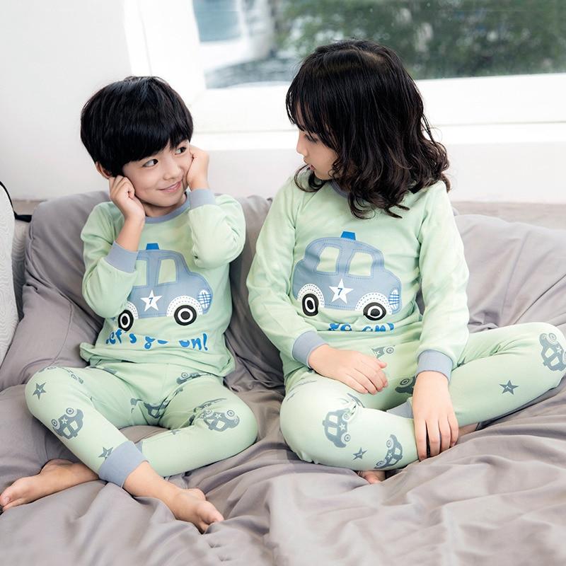 Winter Children's Cartoon Pajamas Set Pyjamas Kids Cotton Sleepwear Boys Girls Clothes Pijamas Clothing 2-13Y Teens Sleepwear