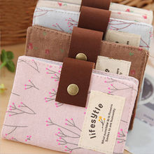 Retro floral pastoral canvas Women Credit ID Card Clutch Bag Wallet Purse Holder Pouch Coin Bag stor