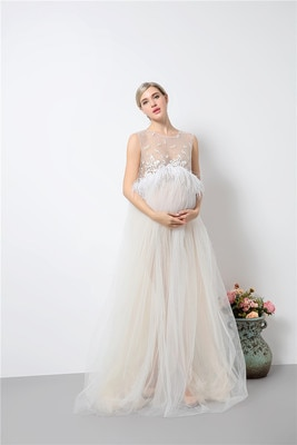 Maternity Lace Dress for Photo Shoot Pregnant Maxi Photo Shoot Dress Long Party Gown Pregnancy Photography props Wedding Party enlarge