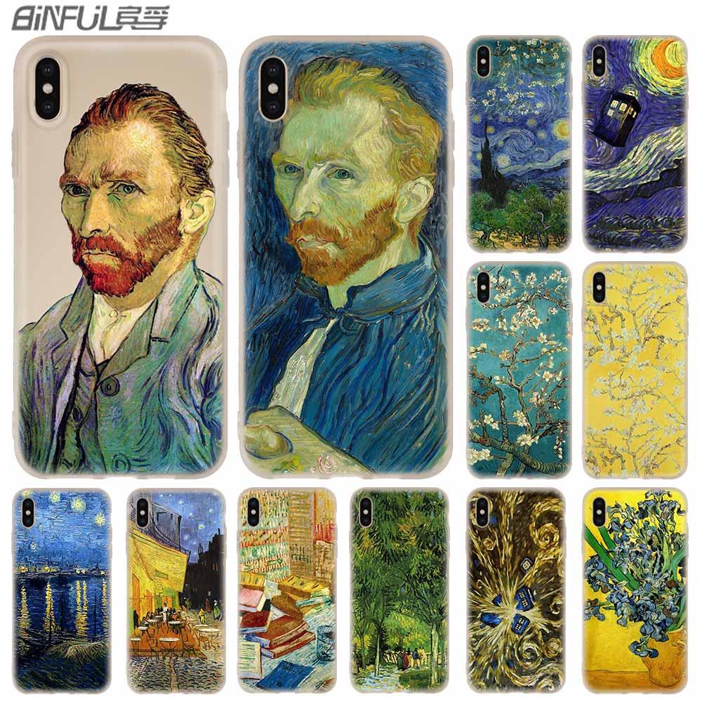Casos de teléfono de silicona suave para iPhone 11 Pro X XS X Max XR 6S 6 7 8 Plus 5 4S SE médico que van gogh arte Funda estuche
