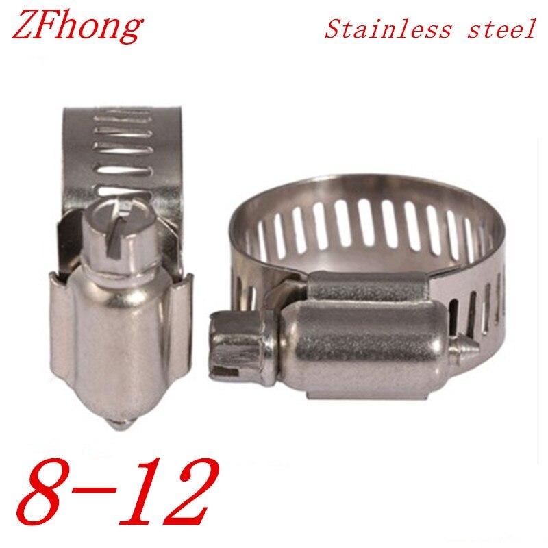10 pces 8mm a 12mm 8-12mm ajustável braçadeira de mangueira de acionamento de aço inoxidável linha de combustível sem-fim clipe