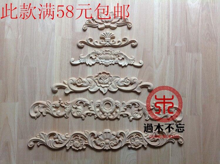 Ombré pour les fenêtres en bois massif   Les garnitures en bois de Dongyang, style européen Central, autocollants pour porte en bois massif, fleur, décoration pour la cheminée, lotu
