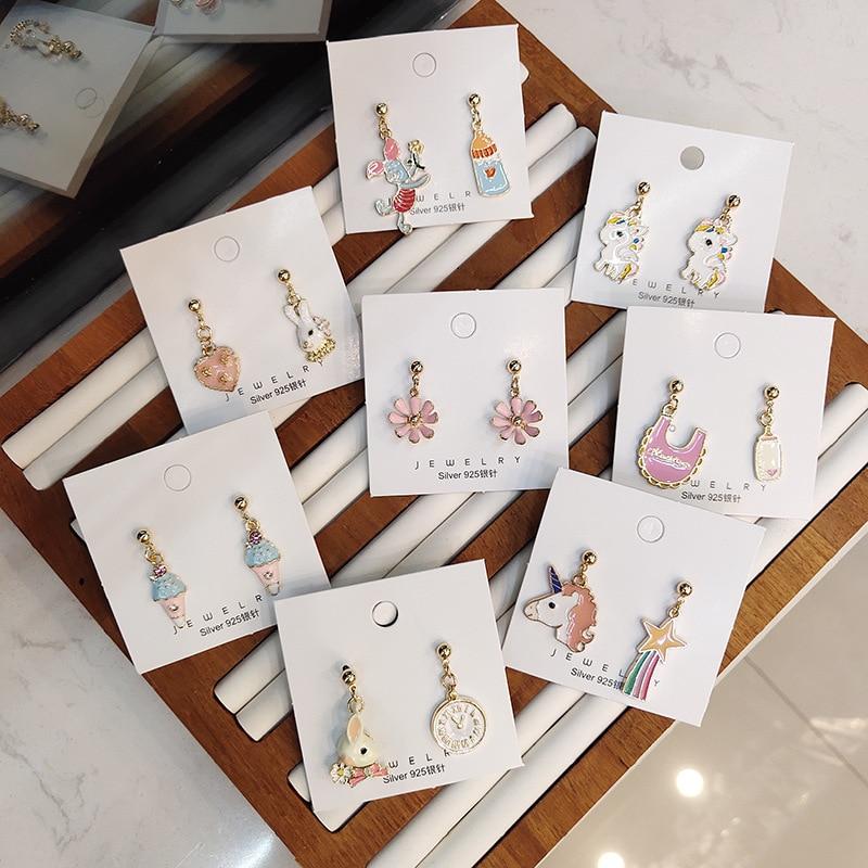 Coreano hecho a mano dibujos animados conejo conejito botella helado 2019 mujer largos cuelgan pendientes de la gota de moda joyería Holiday-JQD5
