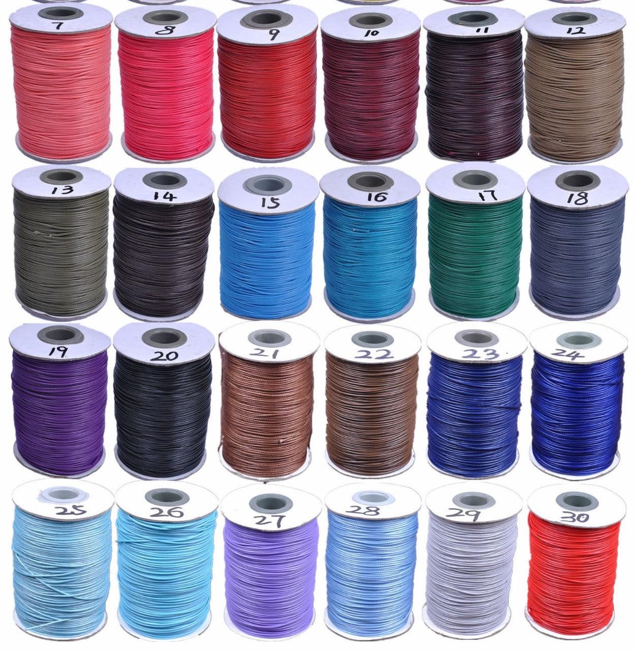 200 Yards 1mm Wax String Wire Thread Cord dacron fiber 30 Colors