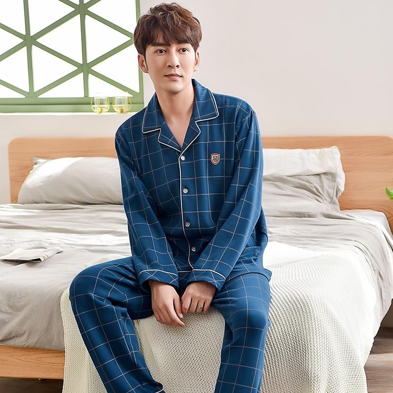 Nova chegada xadrez pijamas conjuntos de manga longa masculina turn-down collar pijamas hombre primavera outono masculino casual agasalho plus size 3xl