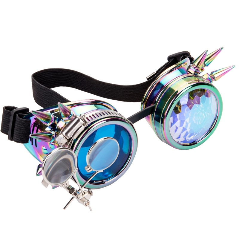 FLORATA Punk Gothic Brille Verschiedene Objektiv Regenbogen EDM Gläser Unisex Niet Steampunk Goggles Cosplay Vintage Gothic Brillen
