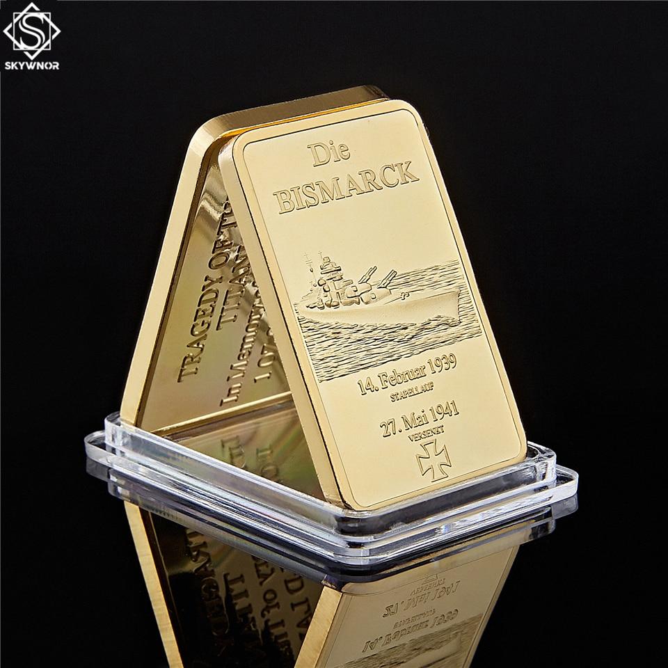 Cuirassé allemand en or plaqué or   Pièces de monnaie/pièces de monnaie de 1 once allemagne Navy Deutsche Marine or Souvenir