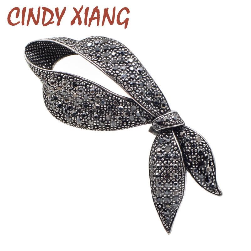 CINDY XIANG, Broches de lazo negro con diamantes de imitación bonitos para mujer, broche de lazo a la moda, broche elegante para fiesta, joyería, Broches de abrigo de invierno