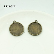 LJJAGLL (10 قطعة/الوحدة) مزدوجة الجانب كابوشون إعداد فارغة جولة 20 مللي متر النقش صينية الحافة الزنك قلادة مجوهرات صالح Diy جعل AXDT035