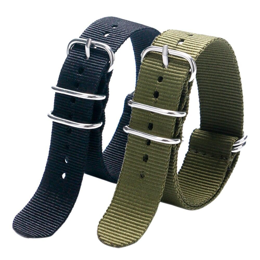 Correa de malla de reloj de lona de Nylon de tela de 20/22MM color negro y verde militar con 5 anillos para relojes deportivos para hombres y mujeres