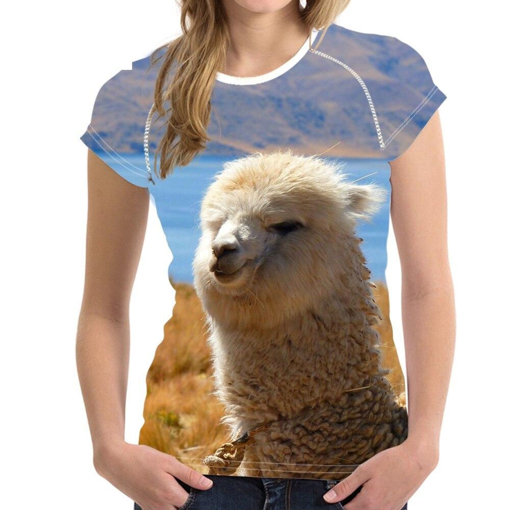 Divertido Animal Alpaca patrón mujer Camisetas 3D impresión O cuello corto Sleee ropa camiseta transpirable para chica adolescente