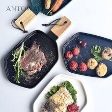 ANTOWALL vaisselle en céramique glaçure mate 4 couleurs   Vaisselle nordique assiette à Steak assiette à Dessert avec manche en bois, vaisselle de maison