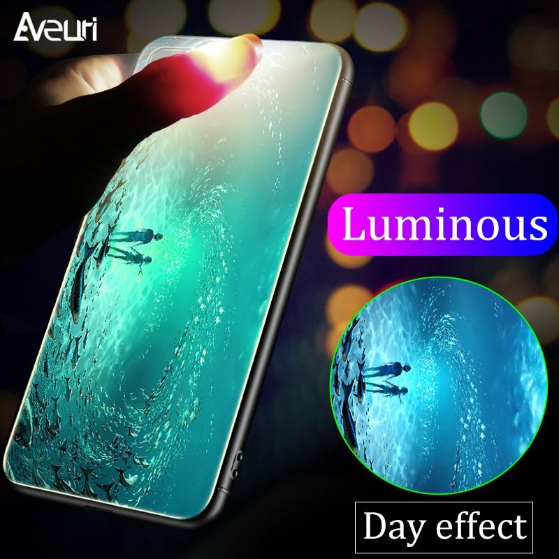 Lujosa carcasa luminosa de cristal templado para teléfono iPhone X XR XS Max Coque funda trasera de cristal de Reno para iPhone 6 6S Plus 7 8 Plus