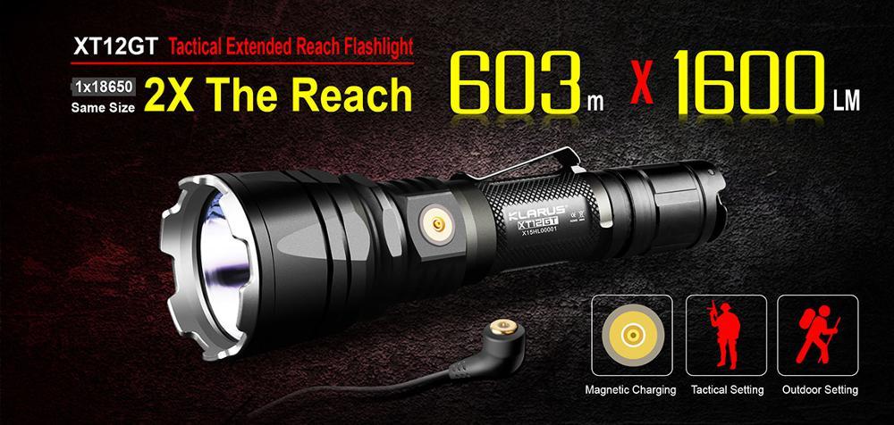Original KLARUS XT12GT 1600 Lumens LED Flashlight CREE LED XHP35 HI D4 Waterproof Tactical Flashlight with 18650 Battery enlarge