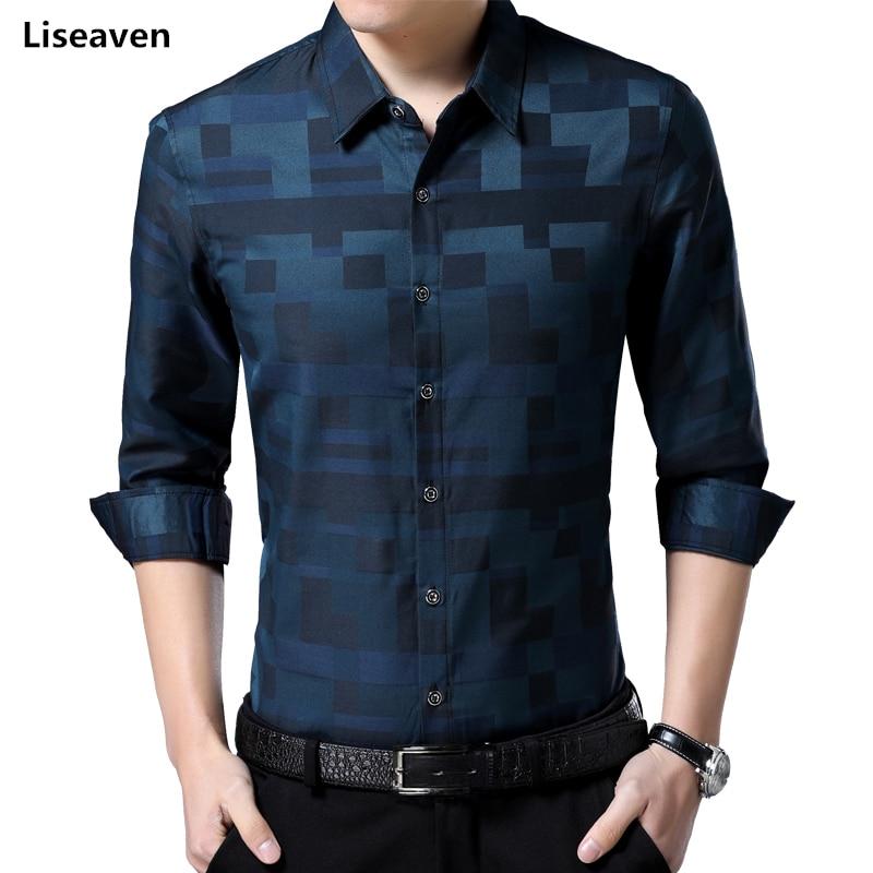 Liseaven dos homens Marca Nova Camisa Camisas Dos Homens Vestido de Camisa Completo Manga Turn-down Collar Masculino Camisa Ocasional Dos Homens roupas